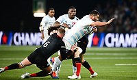 17th November 2019,  Paris La Défense Arena, Hauts-de-Seine, France; Champions Cup Rugby Union, Racing 92 versus Saracens;  A Oz (Racing ) tackled by N Isiekwe (Saracens )