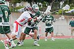 Palos Verdes, CA 04/20/10 - Austin Hafdell (Mira Costa #11) and Jonathon Gonzalez (Palos Verdes #2) in action during the Mira Costa-Palos Verdes boys lacrosse game.
