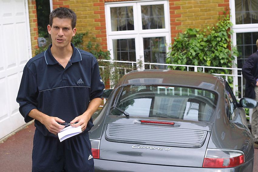 Photo. Jason Green..19-06-2001.TIM HENMAN FEATURE.TIM HENMAN AT IMG HOUSE WIMBLEDON....