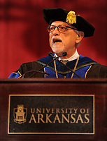 NWA Democrat-Gazette/ANDY SHUPE<br /> Joseph Steinmetz, chancellor of the University of Arkansas, speaks Saturday, May 13, 2017, during commencement exercises in Bud Walton Arena in Fayetteville. Visit nwadg.com/photos to see more photographs from the ceremony.