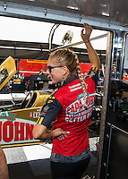 Oct 15, 2016; Ennis, TX, USA; NHRA top fuel driver Leah Pritchett during qualifying for the Fall Nationals at Texas Motorplex. Mandatory Credit: Mark J. Rebilas-USA TODAY Sports