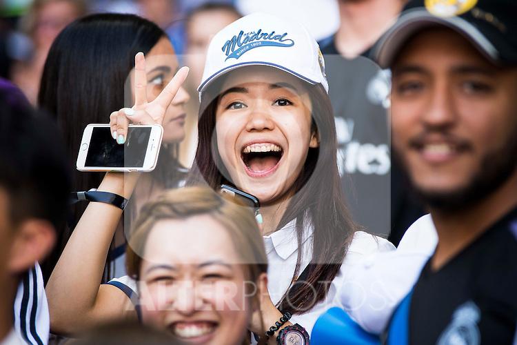 Asian supporters of Real Madrid before a match of La Liga Santander at Santiago Bernabeu Stadium in Madrid. October 02, Spain. 2016. (ALTERPHOTOS/BorjaB.Hojas)