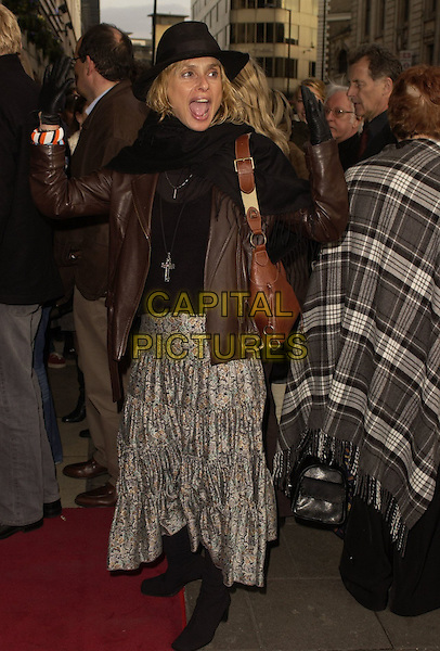"MIRIAM D'ABO.Outside arrivals for ""Movin' Out"" Opening Night, .Apollo Victoria Theatre, London, England, .April 10th 2006..full length black hat miryam funny .Ref: CAN.www.capitalpictures.com.sales@capitalpictures.com.©Can Nguyen/Capital Pictures"