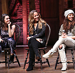 "Lexi Garcia, Elizabeth Judd, Sasha Hollinger during the  #EduHam matinee performance Q & A for ""Hamilton"" at the Richard Rodgers Theatre on 3/28/2018 in New York City."