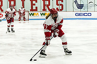 BOSTON, MA - JANUARY 04: Jesse Compher #7 of Boston University looks to score during a game between University of Maine and Boston University at Walter Brown Arena on January 04, 2020 in Boston, Massachusetts.