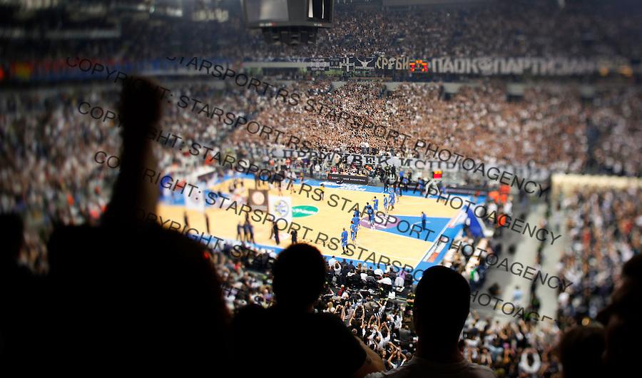 Kosarka, Euroleague, sezona 2009/2010, play off.Partizan Vs. Maccabi (Tel Aviv), Game 3.Grobari, Arena, navijaci, zastave, fans, supporters, flags.Belgrade, 30.03.2010..foto: Srdjan Stevanovic/Starsportphoto ©