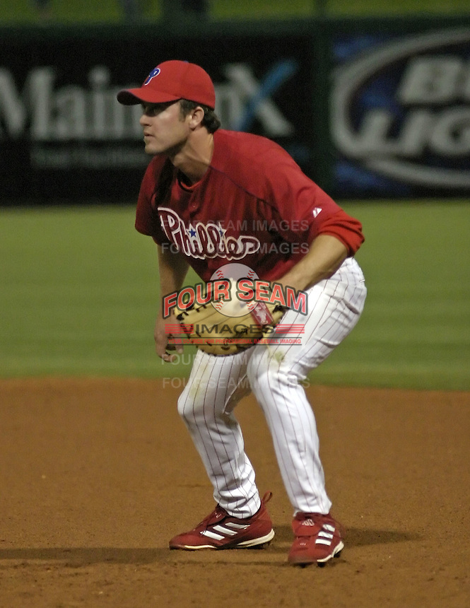 March 29, 2004:  Chase Utley of the Philadelphia Phillies organization during Spring Training at Bright House Networks Field in Clearwater, FL.  Photo by:  Mike Janes/Four Seam Images