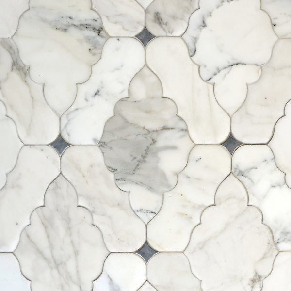 Ganesha, a natural stone waterjet mosaic shown in Calacatta Tia and Bardiglio with a Venetian finish, is part of the Silk Road Collection by Sara Baldwin for New Ravenna Mosaics.<br />