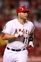 Chris Iannetta #17 of the Los Angeles Angels runs to first base against the Baltimore Orioles at Angel Stadium on April 20, 2012 in Anaheim,California. Los Angeles defeated Baltimore 6-3.(Larry Goren/Four Seam Images)