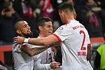 12.01.2018, BayArena, Leverkusen , GER, 1.FBL., Bayer 04 Leverkusen vs. FC Bayern M&uuml;nchen<br /> im Bild / picture shows: <br /> freut sich &uuml;ber sein Tor zum 3:1 James Rodriguez (Bayern Muenchen #11),  mitte mit re Jerome Boateng (Bayern Muenchen #17),  li Arturo Vidal (Bayern Muenchen #23), und Sandro Wagner (Bayern Muenchen #2),  <br /> <br /> <br /> Foto &copy; nordphoto / Meuter