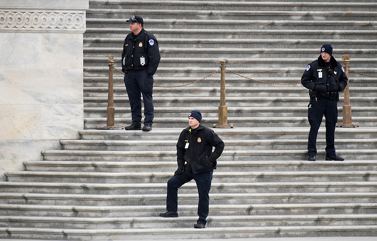 UNITED STATES - JANUARY 20: U.S. Capitol Police keep watch from the Senate steps during the inauguration of Donald Trump as the 45th President of the United States on Friday, Jan. 20, 2017. (Photo By Bill Clark/CQ Roll Call)
