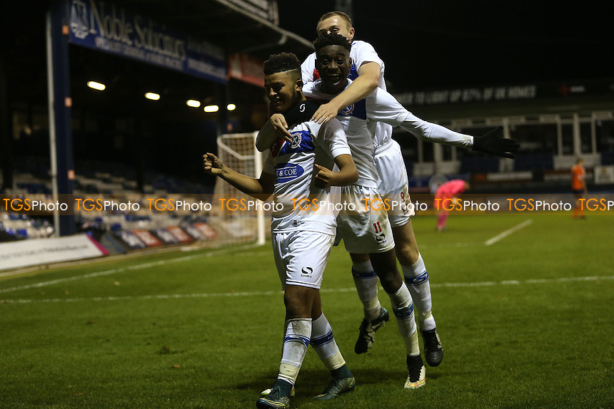 Florence is congratulated after scoring the third goal during Luton Town Youth vs Dagenham & Redbridge Youth, FA Youth c up Football at Kenilworth Road on 17th November 2016