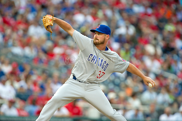 Chicago Cubs relief pitcher Travis Wood (37) pitches in the tenth inning against the Washington Nationals at Nationals Park in Washington, D.C. on Wednesday, June 15, 2016.  The Nationals won the game 5 - 4 in 12 innings.<br /> Credit: Ron Sachs / CNP/MediaPunch ***FOR EDITORIAL USE ONLY***