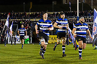 Paul Grant and the rest of the Bath Rugby team run out onto the field. Aviva Premiership match, between Bath Rugby and Northampton Saints on February 9, 2018 at the Recreation Ground in Bath, England. Photo by: Patrick Khachfe / Onside Images