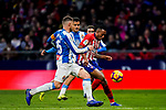 Gelson Martins of Atletico de Madrid (R) fights for the ball with David Lopez Silva (L) and Roberto Jose Rosales Altuve of RCD Espanyol during the La Liga 2018-19 match between Atletico de Madrid and RCD Espanyol at Wanda Metropolitano on December 22 2018 in Madrid, Spain. Photo by Diego Souto / Power Sport Images