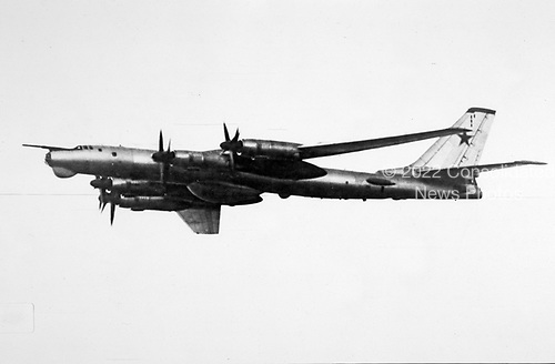 """United States Department of Defense released its 1985 assessment of Soviet Military Power at the Pentagon in Washington, DC on April 2, 1985.  The release stated """"Tu-95 / BEAR D naval reconnaissance aircraft conduct regular deployments to Cuba and Angola and are stationed in Vietnam as part of the Soviet Navy's expanding global presence.""""<br /> Credit: Department of Defense via CNP"""