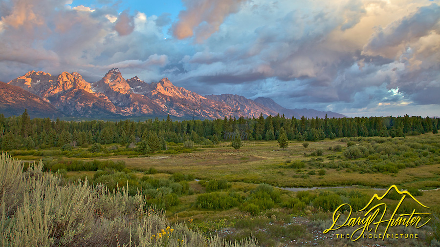 Grand Teton Sunrise at Moose Flats in Grand Teton National Park at Jackson Hole, Wyoming.