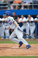 Ryan Larson (66) of the Florida Gators follows through on his swing against the Wake Forest Demon Deacons in the completion of Game Two of the Gainesville Super Regional of the 2017 College World Series at Alfred McKethan Stadium at Perry Field on June 12, 2017 in Gainesville, Florida. The Demon Deacons walked off the Gators 8-6 in 11 innings. (Brian Westerholt/Four Seam Images)