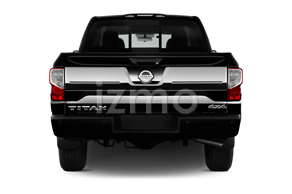 Straight rear view of 2017 Nissan Titan Platinum-Reserve-Crew 4 Door Pickup Rear View  stock images
