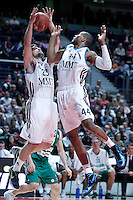 Real Madrid's Sergio Llull (l) and Marcus Slaughter during Euroleague 2012/2013 match.January 11,2013. (ALTERPHOTOS/Acero) NortePHOTO