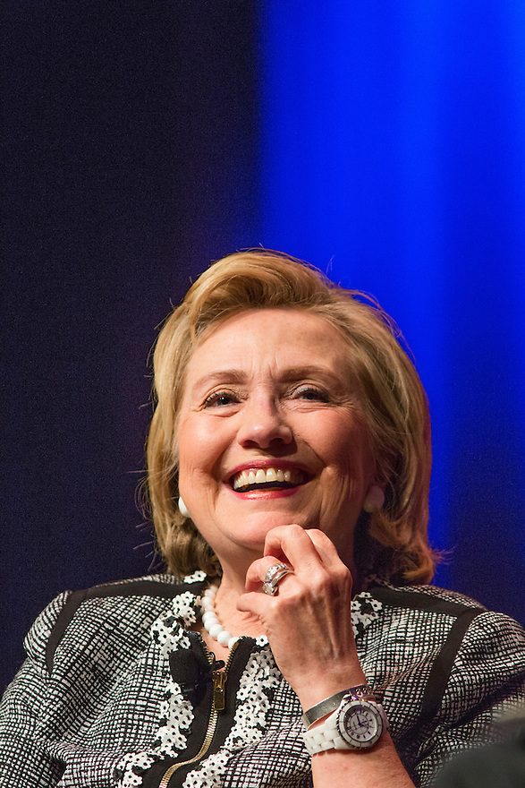 Former Secretary of State Hillary Clinton speaks about her new book, 'Hard Choices: A Memoir,' at George Washington University  in Washington, DC.  Clinton is on a nationwide tour to promote the new memoir with a book signings, speeches & media interviews.   She is not expected to decide on whether to run for President before the end of the year.