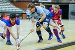 Almere - Zaalhockey  SCHC-Laren  . Robbert van de Peppel  (laren) met Steef Stroeken (SCHC) en Leon van Barneveld (SCHC)  TopsportCentrum Almere.    COPYRIGHT KOEN SUYK