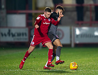 Lincoln City's Kellan Gordon battles with Accrington Stanley's Jordan Clark<br /> <br /> Photographer Andrew Vaughan/CameraSport<br /> <br /> The EFL Checkatrade Trophy Second Round - Accrington Stanley v Lincoln City - Crown Ground - Accrington<br />  <br /> World Copyright &copy; 2018 CameraSport. All rights reserved. 43 Linden Ave. Countesthorpe. Leicester. England. LE8 5PG - Tel: +44 (0) 116 277 4147 - admin@camerasport.com - www.camerasport.com