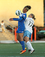 Boston Breakers forward Lianne Sanderson (10) attempts to control the ball as Chicago Red Stars midfielder Lori Chalupny (17) pressures. In a National Women's Soccer League Elite (NWSL) match, the Boston Breakers (blue) defeated Chicago Red Stars (white), 4-1, at Dilboy Stadium on May 4, 2013.