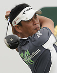 SUZHOU, CHINA - APRIL 17:  Tetsuji Hiratsuka of Japan tees off on the 9th hole during the Round Three of the Volvo China Open on April 17, 2010 in Suzhou, China. Photo by Victor Fraile / The Power of Sport Images