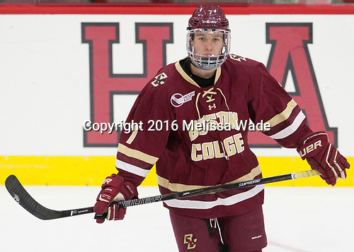 Connor Moore (BC - 7) - The Harvard University Crimson defeated the visiting Boston College Eagles 5-2 on Friday, November 18, 2016, at the Bright-Landry Hockey Center in Boston, Massachusetts.