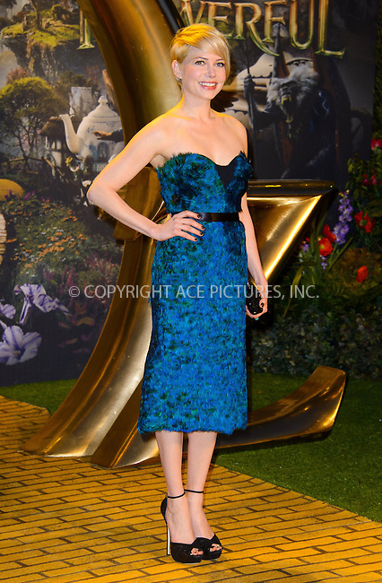 WWW.ACEPIXS.COM....US Sales Only....February 28 2013, London....Michelle Williams at the European premiere of 'Oz the Great and Powerful' held at the Empire Leicester Square cinema on February 28 2013 in London....By Line: Famous/ACE Pictures......ACE Pictures, Inc...tel: 646 769 0430..Email: info@acepixs.com..www.acepixs.com