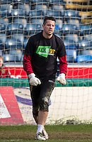 Goalkeeper Chris Day of Stevenage in his Kick it Out shirt during the Sky Bet League 2 match between Wycombe Wanderers and Stevenage at Adams Park, High Wycombe, England on 12 March 2016. Photo by Andy Rowland/PRiME Media Images.