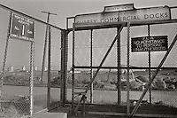 Surry Commercial Dock gates, Rotherhithe, the docks were closed in 1969 and most were of them filled in.
