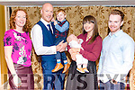 Ciaran and Lisa O'Callaghan from Kilcummin celebrated christening of their son Mark surrounded by friends and family in the Avenue Hotel, Killarney last Sunday. Pictured with their other son Jack and god parents Luke Bartlett and Marguerite O'Gorman.
