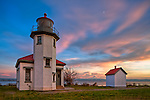Vashon Island, WA            <br /> Point Robinson lighthouse on Puget Sound with sunset colored sky