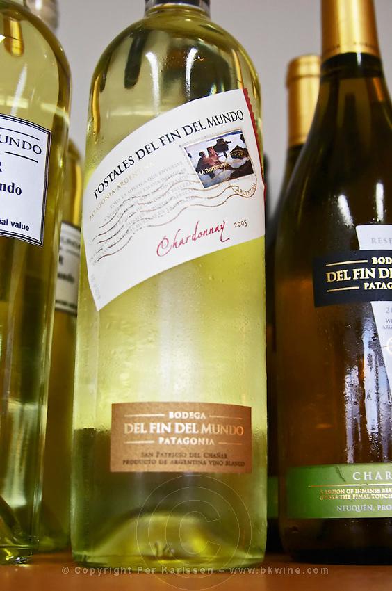 Bottle of Postal (post car) del fin del Mundo chardonnay Bodega Del Fin Del Mundo - The End of the World - Neuquen, Patagonia, Argentina, South America