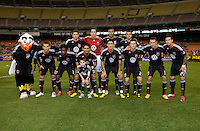 D.C. United lines up before a game at RFK Stadium in Washington, DC.  San Jose defeated D.C. United, 2-0.