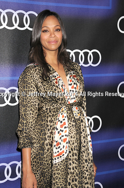 LOS ANGELES, CA- AUGUST 21: Actress Zoe Saldana arrives at the Audi Emmy Week Celebration at Cecconi's Restaurant on August 21, 2014 in Los Angeles, California.