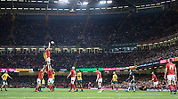 Wales' Aaron Shingler claims the lineout<br /> <br /> Photographer Simon King/CameraSport<br /> <br /> International Rugby Union - 2017 Under Armour Series Autumn Internationals - Wales v Australia - Saturday 11th November 2017 - Principality Stadium - Cardiff<br /> <br /> World Copyright &copy; 2017 CameraSport. All rights reserved. 43 Linden Ave. Countesthorpe. Leicester. England. LE8 5PG - Tel: +44 (0) 116 277 4147 - admin@camerasport.com - www.camerasport.com