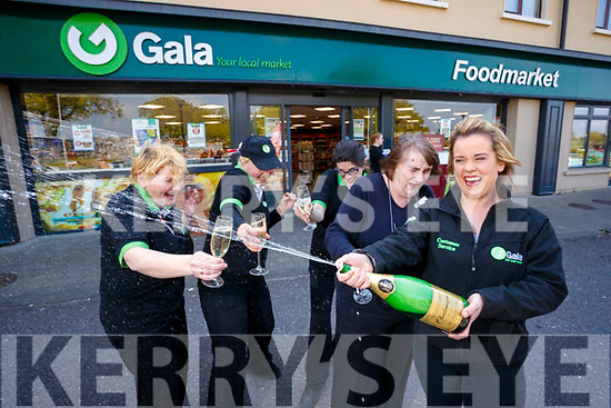 Staff at Gala Mounthawk Tralee, celebrate selling a €500,000 Euromillions winner won on Tuesday evening, from Left: Norma Lynch, Lisa Conway, Mary Jo Daly, Liz Drew and Mandy Maguire.