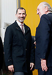 King Felipe VI of Spain (l) and Pedro Ballve Lantero, President of Campofrío Group visit the new factory of Campofrio in Burgos. November 23, 2016.(ALTERPHOTOS/Acero)