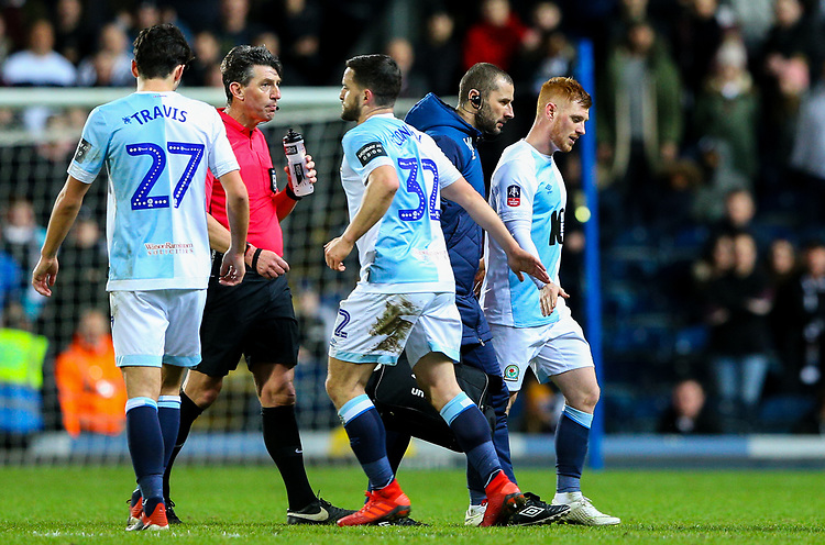 Blackburn Rovers' Harrison Reed leaves the field<br /> <br /> Photographer Alex Dodd/CameraSport<br /> <br /> Emirates FA Cup Third Round Replay - Blackburn Rovers v Newcastle United - Tuesday 15th January 2019 - Ewood Park - Blackburn<br />  <br /> World Copyright © 2019 CameraSport. All rights reserved. 43 Linden Ave. Countesthorpe. Leicester. England. LE8 5PG - Tel: +44 (0) 116 277 4147 - admin@camerasport.com - www.camerasport.com
