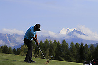 Thongchai Jaidee (THA) plays his 2nd shot on the 12th hole during Thursday's Round 1 of the 2017 Omega European Masters held at Golf Club Crans-Sur-Sierre, Crans Montana, Switzerland. 7th September 2017.<br /> Picture: Eoin Clarke | Golffile<br /> <br /> <br /> All photos usage must carry mandatory copyright credit (&copy; Golffile | Eoin Clarke)