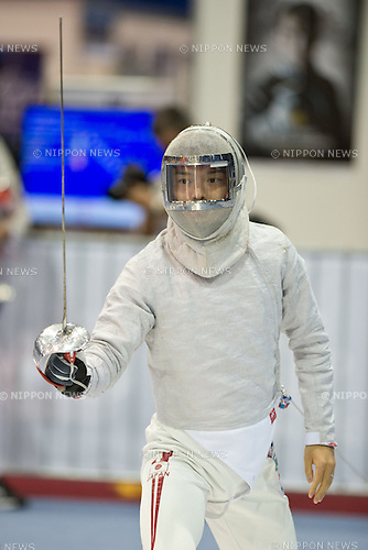 Shun Tanaka (JPN),<br /> AUGUST 5, 2013 - Fencing :<br /> World Fencing Championships Budapest 2013, Men's Individual Sabre Qualifications at Syma Hall in Budapest, Hungary. (Photo by Enrico Calderoni/AFLO SPORT) [0391]