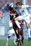 08 Oct 2006,  Dan Guffey (18) of SLU competes for a head ball against Omero Rozen (left) of Fordham.  The St. Louis University Billikens defeated Fordham by a score of 1-0 in a regular season Atlantic 10 Conference match at Robert R. Hermann Stadium, St. Louis, Missouri.