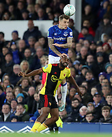 29th October 2019; Goodison Park, Liverpool, Merseyside, England; English Football League Cup, Carabao Cup Football, Everton versus Watford; Lucas Digne of Everton leaps above Nathaniel Chalobah of Watford to win the ball in the air  - Strictly Editorial Use Only. No use with unauthorized audio, video, data, fixture lists, club/league logos or 'live' services. Online in-match use limited to 120 images, no video emulation. No use in betting, games or single club/league/player publications