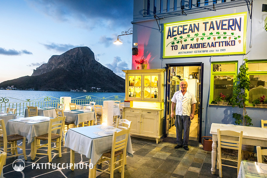 George Pizanias stands outside his restaurant, Aegean Tavern, in Kalymnos, Greece - the most popular restaurant for visiting climbers.