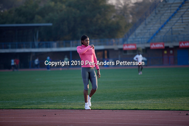 PRETORIA, SOUTH AFRICA - AUGUST 10: Caster Semenya, age 19, walks during a training session at the High Performance Center at the university of Pretoria on August 10, 2010 in Pretoria, South Africa. Caster Semenya won the 800 meters world championship gold medal in Berlin in 2009 was recently cleared to run after her career was held back due to gender testing. She grew up in a rural village in Limpopo, northern South Africa, and she started running only a few years ago, and quickly appeared from nowhere to the world stage. After being banned for almost a year she was cleared by the IAAF and cleared to compete in July 2010. (Photo by Per-Anders Pettersson/Getty Images)
