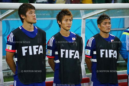 (L to R) <br /> Hiroki Sakai, <br /> Yoichiro Kakitani, <br /> Yoshito Okubo (JPN), <br /> JUNE 14, 2014 - Football /Soccer : <br /> 2014 FIFA World Cup Brazil <br /> Group Match -Group C- <br /> between Cote d'Ivoire 2-1 Japan <br /> at Arena Pernambuco, Recife, Brazil. <br /> (Photo by YUTAKA/AFLO SPORT) [1040]
