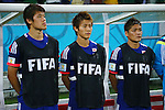 (L to R) <br /> Hiroki Sakai, <br /> Yoichiro Kakitani, <br /> Yoshito Okubo (JPN), <br /> JUNE 14, 2014 - Football /Soccer : <br /> 2014 FIFA World Cup Brazil <br /> Group Match -Group C- <br /> between Cote d'Ivoire 2-1 Japan <br /> at Arena Pernambuco, Recife, Brazil. <br /> (Photo by YUTAKA/AFLO SPORT) [1040]